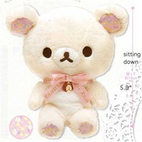San-X Sweet Happy Rilakkuma 6'' Plush: Little Bear with Pink Ribbon