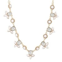 White Dainty Faceted Stone Collar Necklace by Charlotte Russe