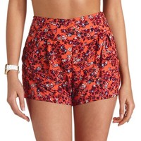 STACKED HIGH-WAISTED FLORAL PRINT SHORTS