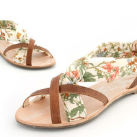 English floral print ladies hand made leather sandal Euro size 39
