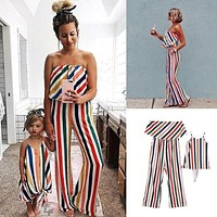 Family Matching Fashion Striped Mother Jumpsuit
