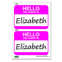 Elizabeth Hello My Name Is - Sheet of 2 Stickers