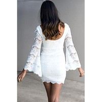 Glamour Bell Sleeve White Lace Mini Dress