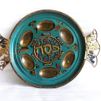 PASSOVER tray green enamel BRASS SEDER plate ornate 3D pesach plaque - Vintage Israel Judaica Haggadah dish - Collectible religious item