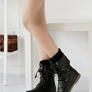 Fashion Vintage Lace up Women Motorcycle Winter Snow Boots, All year round boots