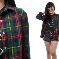 vintage 90s green plaid shirt soft grunge button up slouchy oversized holiday winter plaid shirt top Seattle grunge flannel Small