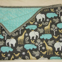 Baby Boy Blanket in Zoology- Ships in 1-3 Business Days