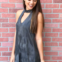 Perfect Holiday Suede Dress - Charcoal