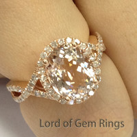 Oval Morganite Engagement Ring Pave Diamond Wedding 14K Rose Gold 8x10mm