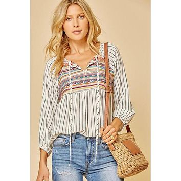 Ivory and Black Striped Embroidery Top (S-2X)