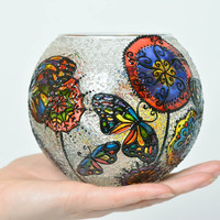Handmade glass vase decorative painted vase glass decor home decor ideas