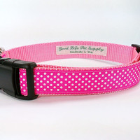 Gorgeous Hot Pink Polka Dots Handmade Adjustable Dog Collar LARGE