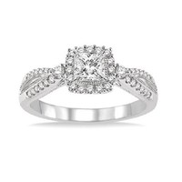 1/2ct tw Diamond Halo Engagement Ring in 14K White Gold - Engagement Rings