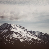The Summit - Iceland Mountain, Arctic Landscape Photography, Black, White Snow, Clouds, Blue Sky, Nature