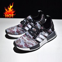 Best Online Sale Bape x Adidas NMD Black Camo Army Bathing Ape Nomad Runner Boost Sport Running Shoes - BA7325
