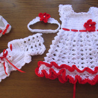 Crochet baby set, baby dress, bolero, shoes and headband , baby girl dress, newborn dress, newborn clothes infant outfit