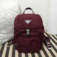 Prada 1:1 Grade Fabric Backpack-Burgundy