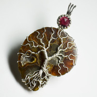 Ammonite Tree of Life Pendant Wire Wrapped Sterling Silver Garnet Bezel Set Soldered Tree of Life Fossil Pendant January Birthstone
