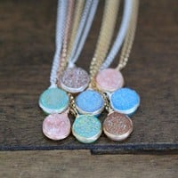 Druzy Bezel Pendant Necklaces - Pastel Edition  ( New Color )