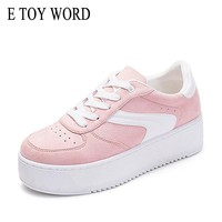 E TOY WORD New 2018 Fashion Sneakers Women Lace Up Canvas Shoes Autumn White Platform Studetn Shoes Breathable zapatillas mujer