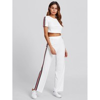 White Striped Side Crop Top And Pants Set