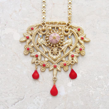 Statement Coral Necklace Sea urchin Gold Plated Vintage style necklace