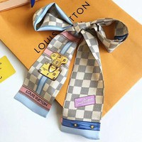 Louis Vuitton Women Scarf Shawl Silk Scarf White Checker