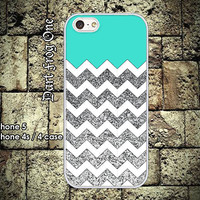Glitter Print (Not actual glitter) with White Chevron iPhone 5 case, iPhone 4s / 4 case hard plastic or silicon rubber