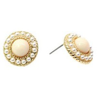 Pearl Button Earrings with Mini Pearl Beading