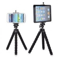 Case Star Black Octopus Style Portable and adjustable Tripod Stand with Mount / Holder (L) for iPhone 4/4S/5, Mount / Holder (XL) for iPad Mini,Cellphone ,Camera with Case Star Velvet Bag