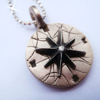 Pablo Valencia- Bronze and Diamond Mini Compass Necklace