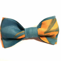 Green Bow Tie with Yellow Pattern, Mens Bow Tie