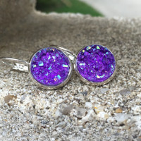 Earrings Purple Druzy Lever Back Earrings Boho Jewelry Purple 12MM Boho Earrings