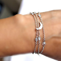 Versatile Jewelry Dainty Crescent Moon Chain Bracelet / Necklace Minimal CZ  Sterling Silver Chain Delicate Jewelry