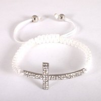 2 Pieces of White Lace Style Iced Out Cross Bracelet with Beaded Disco Balls Macrame Shamballah