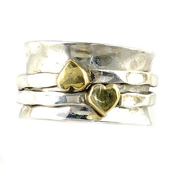 Spinner RIng Two Tone Hearts Kiss Ring