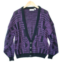 Vintage 80s Aztec Tribal Cosby Cardigan Purple Ugly Sweater - The Ugly Sweater Shop