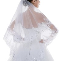 Edith qi 2 Tier Lace Silver Lined Beaded Edge Fingertip Length Bridal Wedding Veil