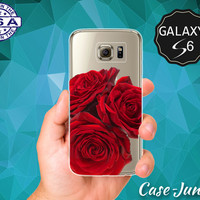 Roses Red Flowers Floral Tumblr Inspired Cute Rose Case for Clear Rubber Samsung Galaxy S6 and Galaxy S6 Edge Galaxy S7 and S7 Edge