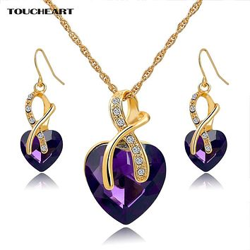 African Beads Nigerian Crystal Wedding Jewelry Set for Women Gold color Chain Necklaces Earrings With Heart Stones
