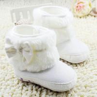 Newborn Baby Girl Bowknot Fleece Snow Boots Booties Kids Princess White Winter Shoes