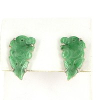 Carved Jade Dragon Clip Earrings Vintage 14 Karat Gold Estate Fine Jewelry Heirloom