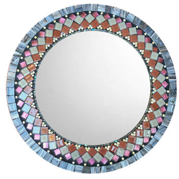 Mosaic Wall Mirror, Round Mirror, Geometric Pattern, Modern Home Decor