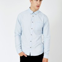 The Idle Man Basic Oxford Shirt Blue