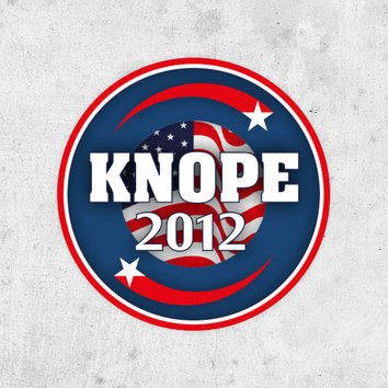 """Lesley Knope Sticker! """"Knope 2012"""", parks and recreation, Amy Poehler. pawnee city council election"""