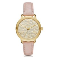 Hartman Gold-Tone and Embossed-Leather Watch | Michael Kors
