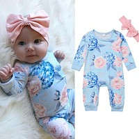 USStock Newborn Infant Kid Baby Girl Bodysuit Romper Jumpsuit Outfit Clothes Set