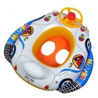 Baby Kids Inflatable - Pool Seat - Float Boat - Swimming Aid - White Blue - Car and Airship Shape - Steering Wheel and Sounding Horn - Guaranteed by The Magic Toys Factory Ltd. (TM)