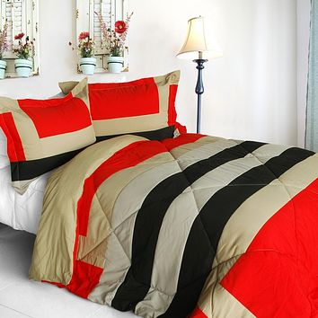 [Home Prairie] Quilted Patchwork Down Alternative Comforter Set (Full/Queen Size)