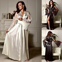 Lace Silk Robe Sleepwear